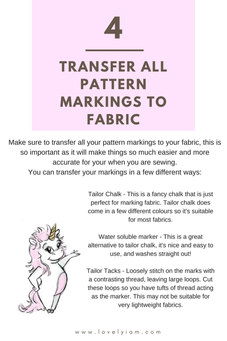 4. Transfer all pattern markings to fabric